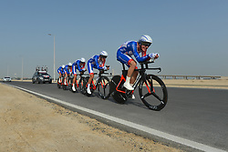 February 24, 2019 - Abu Dhabi, United Arab Emirates - Members of Team Groupama - FDJ from France in action, during the Team Time Trial, the opening ADNOC stage of the inaugural UAE Tour 2019..On Sunday, February 24, 2019, Abu Dhabi, United Arab Emirates. (Credit Image: © Artur Widak/NurPhoto via ZUMA Press)