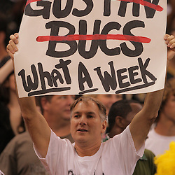 2008 September 7: A New Orleans Saints fan holds up a sign during the team's home opener against the Tampa Bay Buccaneers at the Louisiana Superdome in New Orleans, LA.  The New Orleans Saints defeated the Tampa Bay Buccaneers 24-20.