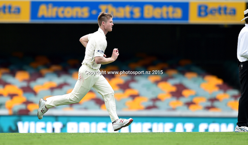 James Neesham running in to bowl on Day Three, 7 November 2015. New Zealand Black Caps tour of Australia, 1st test at Brisbane 5-9 November 2015. Copyright photo: www.photosport.nz