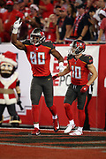 Tampa Bay Buccaneers wide receiver Adam Humphries (10) looks on as Tampa Bay Buccaneers rookie tight end O.J. Howard (80) points and celebrates while grimacing with an apparent injury after Howard catches a 30 yard touchdown pass that ties the first quarter score at 7-7 during the 2017 NFL week 15 regular season football game against the Atlanta Falcons, Monday, Dec. 18, 2017 in Tampa, Fla. The Falcons won the game 24-21. (©Paul Anthony Spinelli)