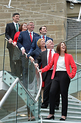 Scottish Labour MPs (left to right) Ged Killen,<br /> Danielle Rowley, Martin Whitfield, Paul Sweeney, Lesley Laird, Hugh Gaffney, Scottish Labour leader Kezia Dugdale after a press conference at the Rutherglen Town Hall, Glasgow.