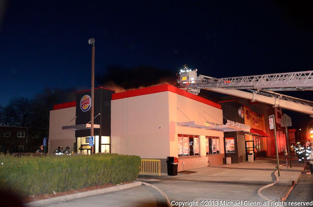 Fire in the roof of the Burger King at Utica ave and Fillmore av. statred as a grease fire in the cooking area and extended to the roof and ventilation system