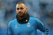Real Madrid forward Karim Benzema (9)  during the Champions League match between Manchester City and Real Madrid at the Etihad Stadium, Manchester, England on 26 April 2016. Photo by Simon Davies.