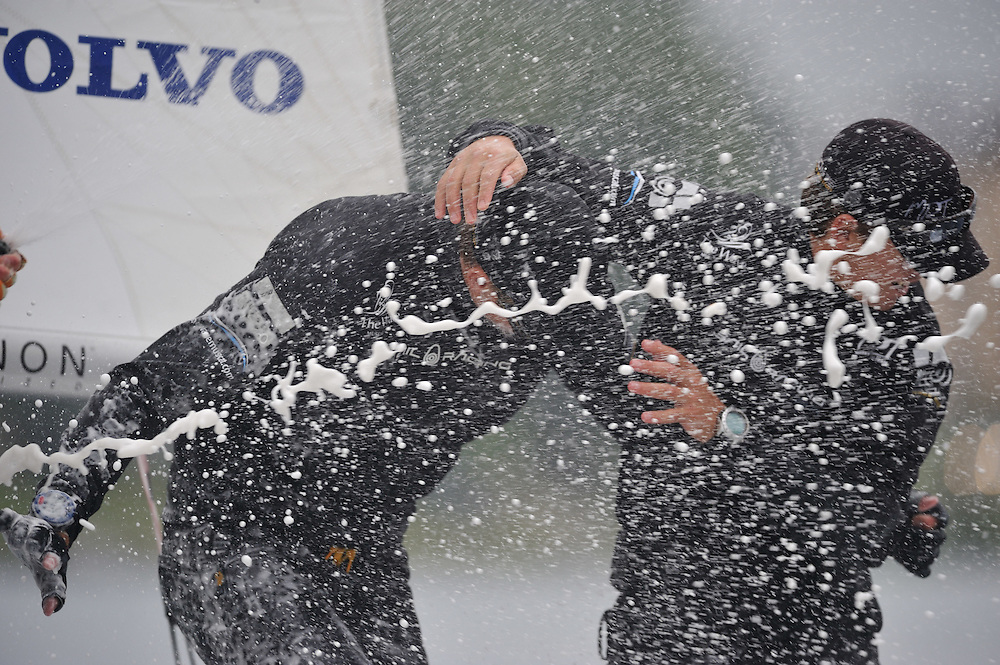 Torvar Mirsky and The Wave Muscat team celebrate their St. Moritz Match Race win. Photo: Chris Davies/WMRT