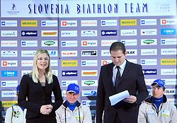 Jerca Zajc and Tomaz Sustersic  at press conference of Slovenian Biathlon National Team before new season 2008/2009, on November 24, 2008 in Emporium, BTC, Ljubljana, Slovenia.  (Photo by Vid Ponikvar / Sportida)