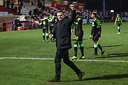 Forest Green Rovers manager, Mark Cooper at the end of the match during the EFL Sky Bet League 2 match between Stevenage and Forest Green Rovers at the Lamex Stadium, Stevenage, England on 26 January 2019.