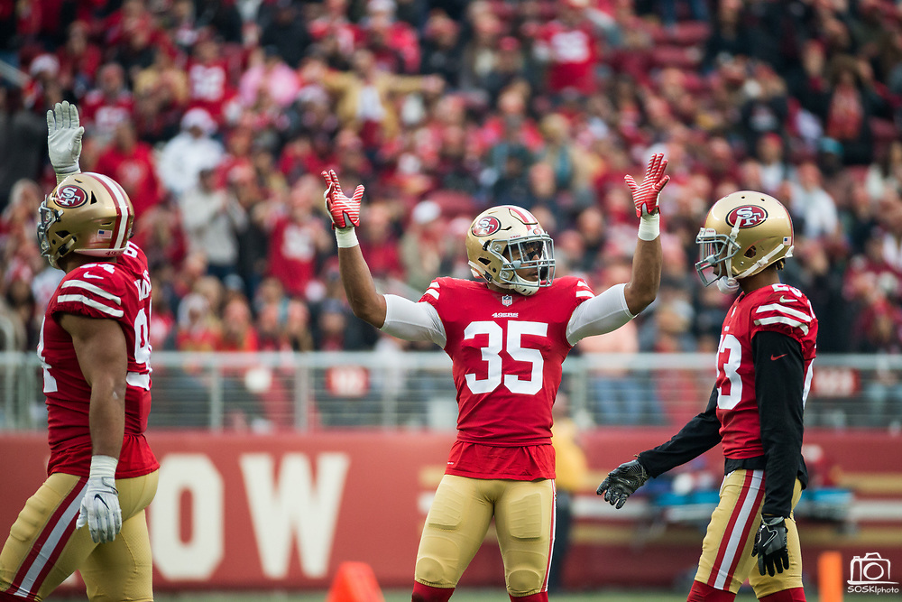 San Francisco 49ers strong safety Eric Reid (35) gets the San Francisco 49ers fans pumped during a game against the Jacksonville Jaguars at Levi's Stadium in Santa Clara, Calif., on December 24, 2017. (Stan Olszewski/Special to S.F. Examiner)