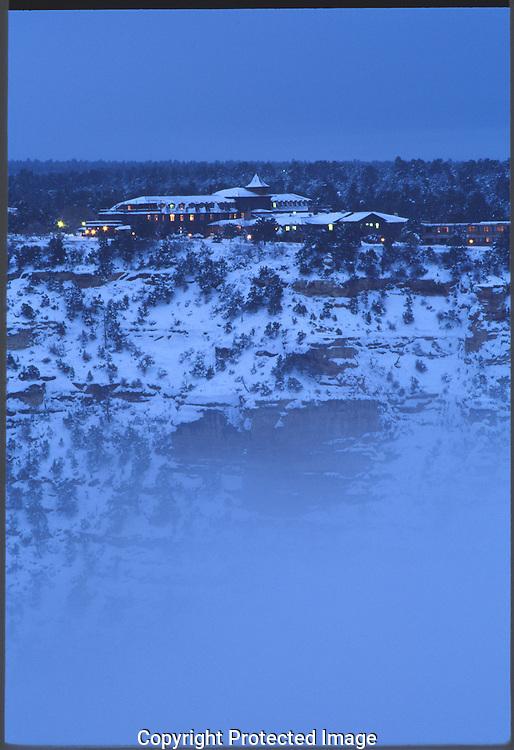 Grand Canyon, National Park, South Rim, Arizona, El Tovar, winter, snow, fog, blue,