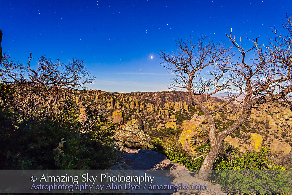 Venus as an evening star shining in a moonlit sky over Chiricahua National Monument, in southeast Arizona. Taken December 15, 2013 with the 24mm lens and Canon 5D MkII for 40s at f/5 and ISO 800.