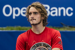 April 29, 2018 - Barcelona, Catalonia, Spain - STEFANOS TSITSIPAS (GRE) presents his second place trophy at the 'Barcelona Open Banc Sabadell' after losing the final against Rafael Nadal (ESP). Tsitsipas won  6:2, 6:1 (Credit Image: © Matthias Oesterle via ZUMA Wire)