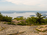 View of Bar Harbor and Frenchman Bay from atop Cadillac Mountain, Acadia National Park, Maine, USA.