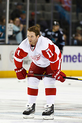 Nov 17, 2011; San Jose, CA, USA; Detroit Red Wings right wing Daniel Cleary (11) warms up before the game against the San Jose Sharks at HP Pavilion. San Jose defeated Detroit 5-2. Mandatory Credit: Jason O. Watson-US PRESSWIRE