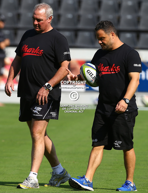 DURBAN, SOUTH AFRICA, 25,MARCH, 2016 - Gary Gold (Sharks Director of Rugby)  with Omar Mouneimne (Defence coach) of the Cell C Sharks during The Cell C Sharks Captain session at Growthpoint Kings Park in Durban, South Africa. (Photo by Steve Haag)<br /> <br /> images for social media must have consent from Steve Haag