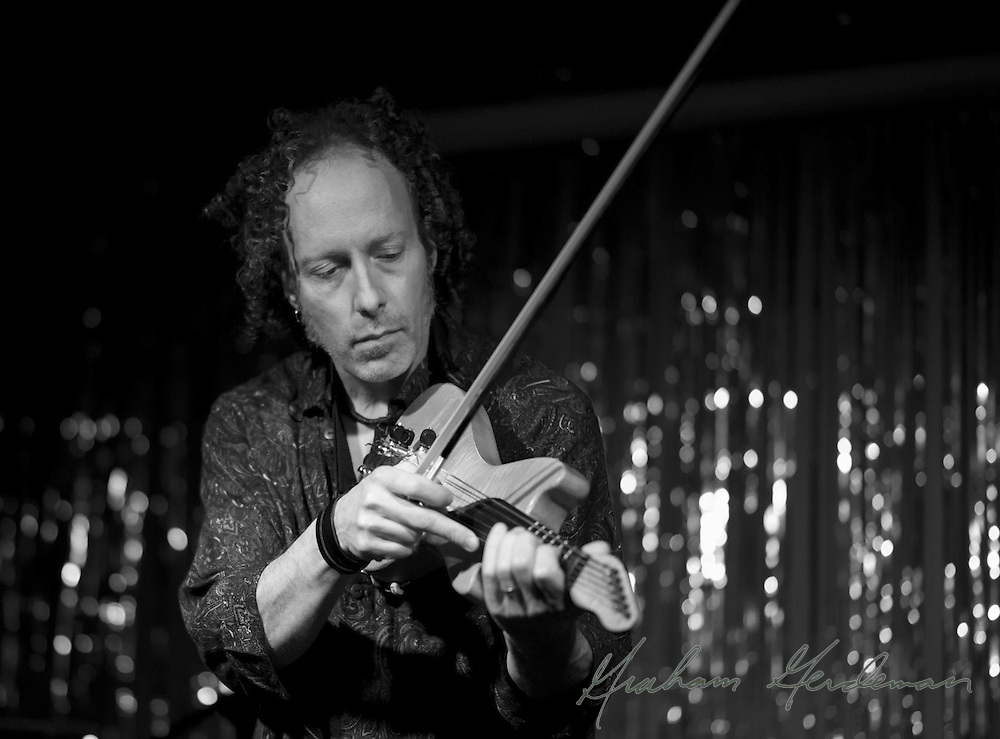 A Black and White of violinist Tracy Silverman performing at the Stone Fox in Nashville, TN