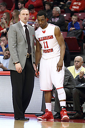 28 January 2015:   Dan Muller and MiKyle McIntosh have a quick chat near the bench during an NCAA MVC (Missouri Valley Conference) men's basketball game between the Missouri State Bears and the Illinois State Redbirds at Redbird Arena in Normal Illinois