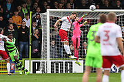 Forest Green Rovers goalkeeper Sam Russell(23) punches the ball clear during the EFL Sky Bet League 2 match between Forest Green Rovers and Newport County at the New Lawn, Forest Green, United Kingdom on 14 October 2017. Photo by Shane Healey.