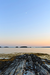 Gosling Island at sunset in Casco Bay, Harpswell, Maine.