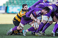 Ebbw Vale's Lewis Young is tackled by Newport's Ryan James - Mandatory by-line: Craig Thomas/Replay images - 04/02/2018 - RUGBY - Rodney Parade - Newport, Wales - Newport v Ebbw Vale - Principality Premiership