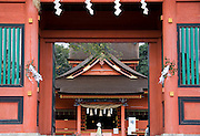 Photo shows the main gate looking through to the inner shrine of Fujisan Hongu Sengen Taisha in Fujinomiya City, Shizuoka Prefecture Japan on 01 Oct. 2012.  The shrine is one of around 25 sites, including Mt Fuji, that have been nominated for UNESCO world heritage status. Photographer: Robert Gilhooly