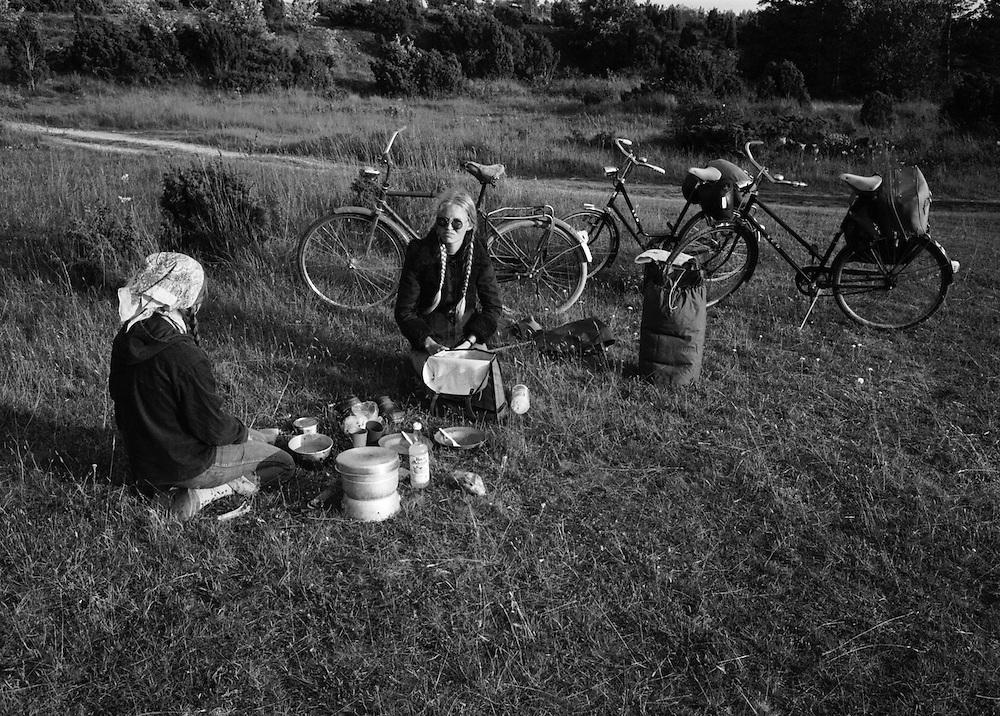 Matrast och vila efter cykelfärd