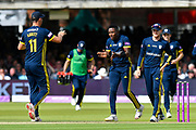 Wicket - Fidel Edwards of Hampshire celebrates taking the wicket of Tom Banton of Somerset during the Royal London 1 Day Cup Final match between Somerset County Cricket Club and Hampshire County Cricket Club at Lord's Cricket Ground, St John's Wood, United Kingdom on 25 May 2019.