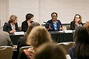 """This is a session titled """"Families on the Precipice: Navigating the Separation, Detention, and Reunification of Families at the U.S. Border""""  at the 2018 American Bar Association Annual Meeting.  Panelists Left to right: Anne Chandler, Kimi Jackson, Uzoamaka Emeka Nzelibe and Maria Woltjen photos by Kathy Anderson"""