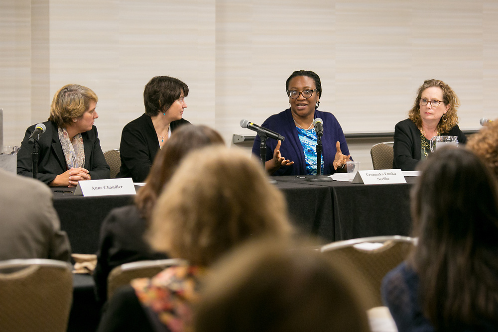 "This is a session titled ""Families on the Precipice: Navigating the Separation, Detention, and Reunification of Families at the U.S. Border""  at the 2018 American Bar Association Annual Meeting.  Panelists Left to right: Anne Chandler, Kimi Jackson, Uzoamaka Emeka Nzelibe and Maria Woltjen photos by Kathy Anderson"