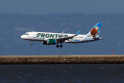 Airbus A320-251N (N328FR) operated by Frontier Airlines with the Scout the Pine Marten livery landing at San Francisco International Airport (KSFO), San Francisco, California, United States of America