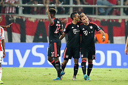 16.09.2015, Karaiskakis Stadium, Piräus, GRE, UEFA CL, Olympiakos Piräus vs FC Bayern München, Gruppe F, im Bild l-r: Torjubel von David Alaba #27 (FC Bayern Muenchen), Thiago Alcantara #6 (FC Bayern Muenchen), Mario Goetze #19 (FC Bayern Muenchen) // during UEFA Champions League group F match between Olympiacos F.C. and FC Bayern Munich at the Karaiskakis Stadium in Piräus, Greece on 2015/09/16. EXPA Pictures © 2015, PhotoCredit: EXPA/ Eibner-Pressefoto/ Kolbert<br /> <br /> *****ATTENTION - OUT of GER*****