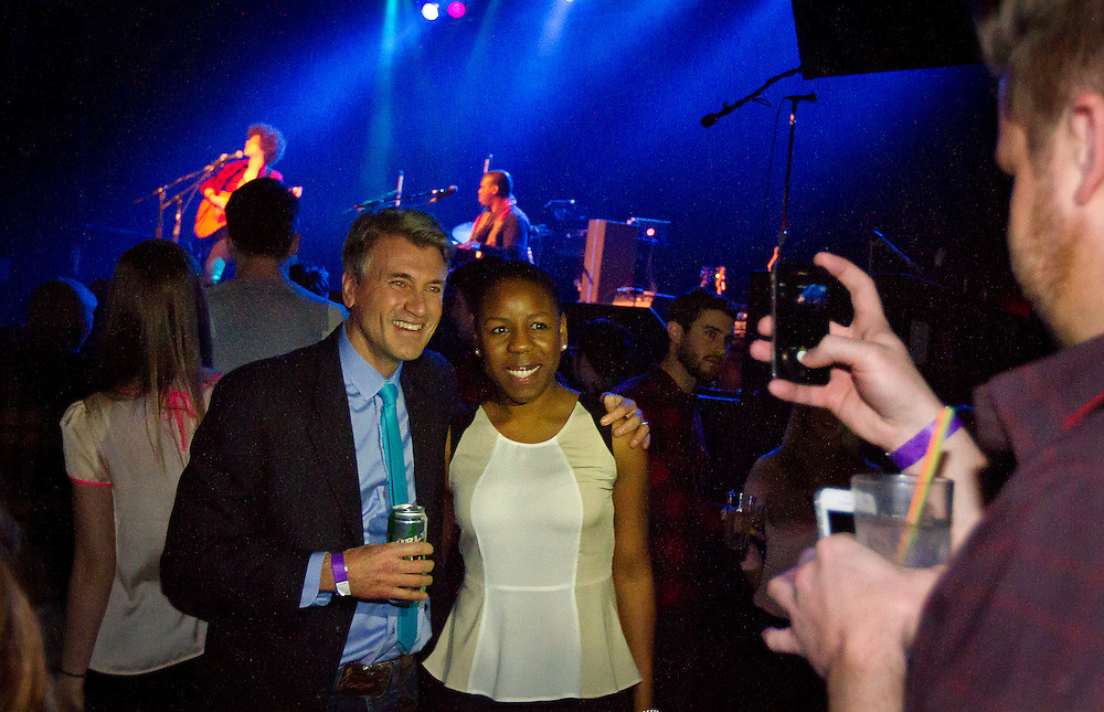 "Minneapolis Mayor R.T. Rybak, left, poses for a picture with Tiffany Wilson during his ""Unauguration Party"" at First Avenue, Wednesday, December 18, 2013."