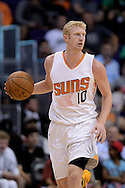 Mar 21, 2016; Phoenix, AZ, USA; Phoenix Suns forward Chase Budinger (10) handles the ball in the first half against the Memphis Grizzlies at Talking Stick Resort Arena. Mandatory Credit: Jennifer Stewart-USA TODAY Sports