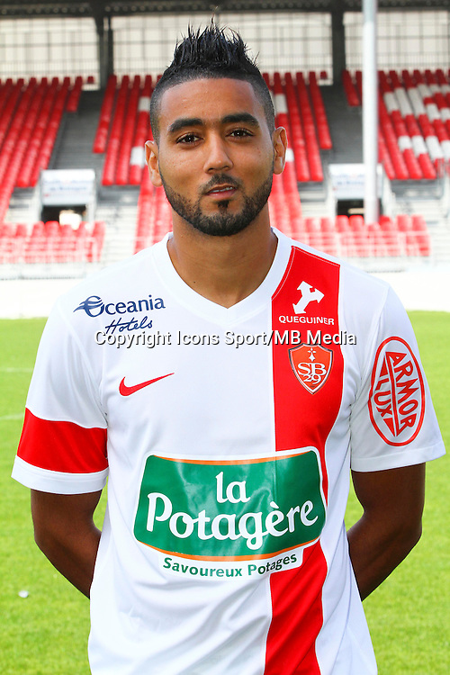 Chahir BELGAZOUANI - 08.09.2014 - Photo officielle Brest - Ligue 2 2014/2015<br /> Photo : Maxime Kerriou / Icon Sport