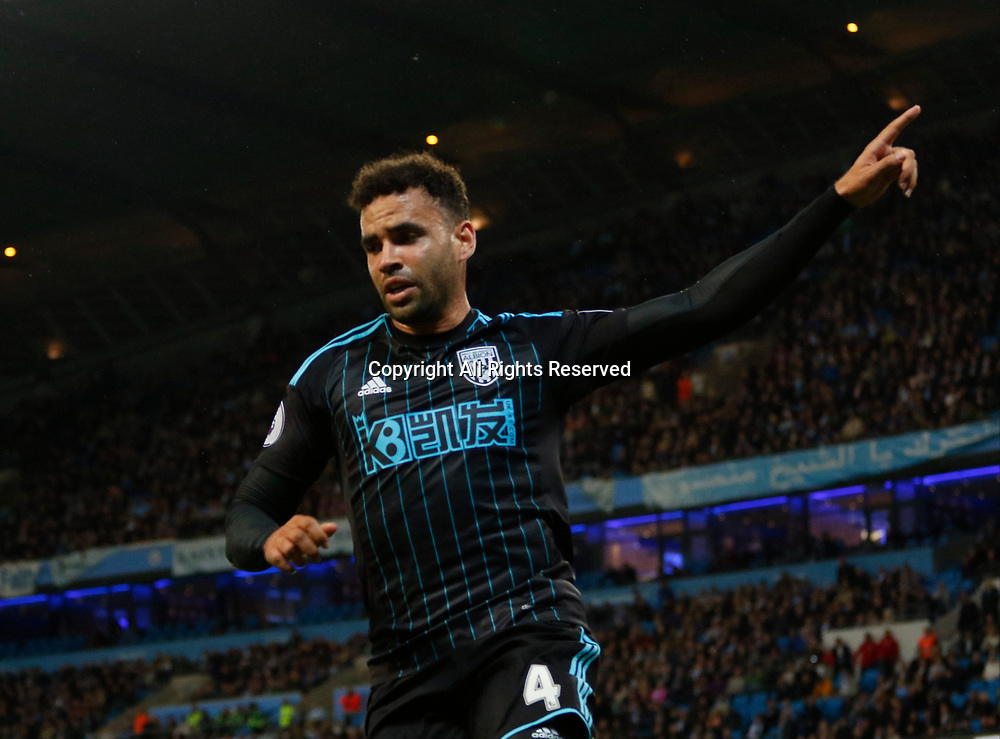 May 16th 2017, Etihad Stadium, Manchester, England; EPL Premier League football, Manchester City versus West Bromwich Albion; Hal Robson-Kanu of West Bromwich Albion celebrates after he scores his side's first goal after 87 minutes for 3-1