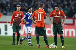13.12.2011, Arena auf Schalke, Gelsenkirchen, GER, 1.FBL, Schalke 04 vs Werder Bremen, im Bildvon links: Florian Trinks (Bremen #35), Raul (Schalke #7) und Markus Rosenberg (Bremen #11) und Claudio Pizarro (Bremen #24) // during the 1.FBL, Schalke 04 vs Werder Bremen on 2011/12/17, Arena auf Schalke, Gelsenkirchen, Germany. EXPA Pictures © 2011, PhotoCredit: EXPA/ nph/ Mueller..***** ATTENTION - OUT OF GER, CRO *****