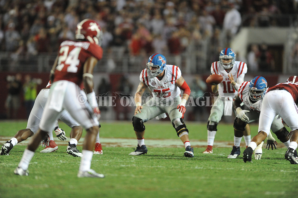 Ole Miss Rebels offensive lineman Robert Conyers (75) vs. Alabama at Bryant-Denny Stadium in Tuscaloosa, Ala. on Saturday, September 19, 2015. Ole Miss won 43-37.