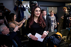 © Licensed to London News Pictures. 18/02/2019. London, UK. Former Labour MP Luciana Berger arrives at an event in Westminster, London, where a group of seven former Labour MPs announced the formation a new political party, The Independent Group. Formed by breakaway Labour MPs who disagree with Labour Party action on Brexit and Antisemitism. Photo credit: Rob Pinney/LNP