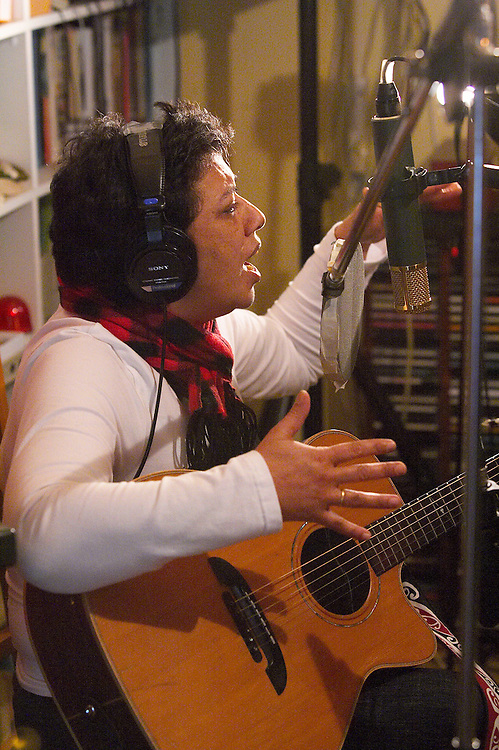 Mahinarangi Tocker recording her album, the Mongrel In Me, on Saturday 23 July 2005.  The band consist of Shona Laing, James Wilkinson, David Downes, Anahera Higgins, Denny Stanway and Jimmy Young, with recording / production by Robbie Duncan at his Braeburn Studio in Wellington New Zealand.