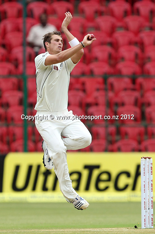 New Zealand cricket tour to India. September 2012 Bengaluru :  New Zealand's Tim Southee  during the 4th day of the test match in Bengaluru on Monday.   Photo: Photosport.co.nz