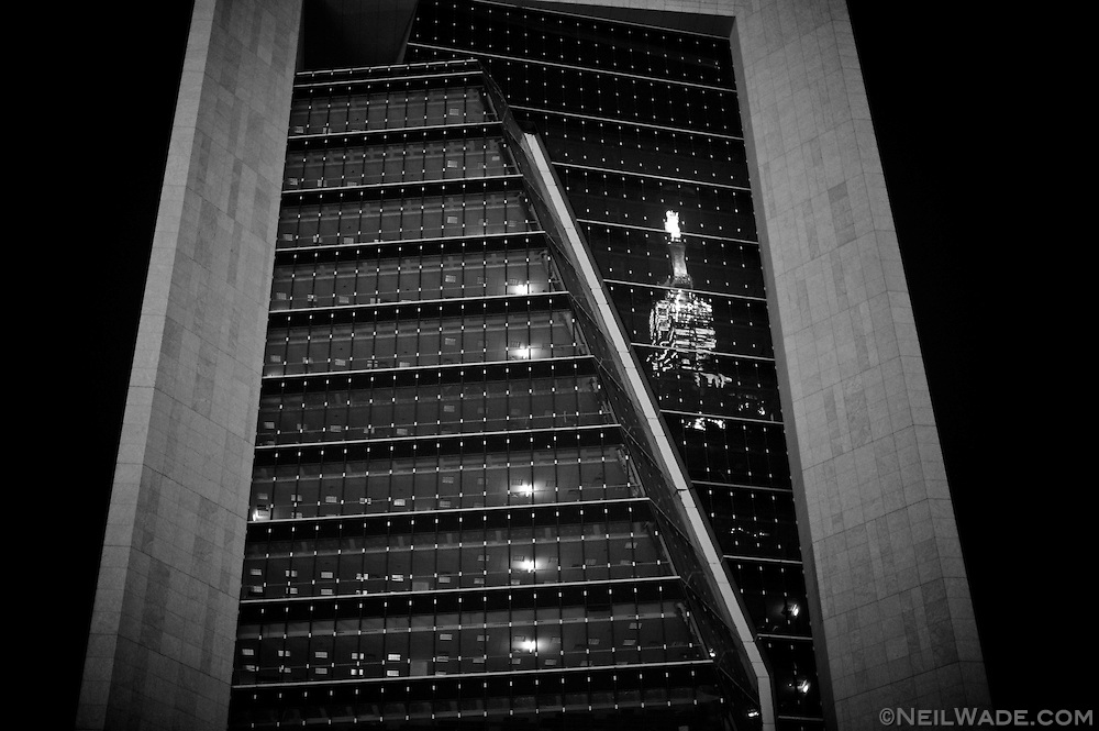 The reflection of Taipei 101 in a building in Taipei, Taiwan.