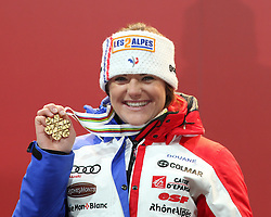 10.02.2013, Medal Plaza, Schladming, AUT, FIS Weltmeisterschaften Ski Alpin, Abfahrt,  Damen, Siegerehrung, im Bild Marion Rolland (FRA, 1. Platz) // 1st place Marion Rolland from France at the Winner Award Ceremony during womes Downhill at the FIS Ski World Championships 2013 at the Medal Plaza, Schladming, Austria on 2013/02/10. EXPA Pictures © 2013, PhotoCredit: EXPA/ Martin Huber
