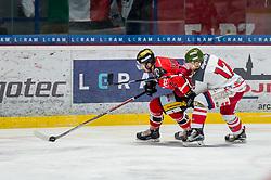 19.01.2018, Ice Rink, Znojmo, CZE, EBEL, HC Orli Znojmo vs HCB Suedtirol Alperia, 41. Runde, im Bild v.l. Dominik Tejnor (HC Orli Znojmo) Alexander Egger (HCB Sudtirol Alperia) // during the Erste Bank Icehockey League 41th round match between HC Orli Znojmo and HCB Suedtirol Alperia at the Ice Rink in Znojmo, Czech Republic on 2018/01/19. EXPA Pictures © 2018, PhotoCredit: EXPA/ Rostislav Pfeffer