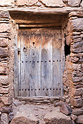 TALIOUINE, MOROCCO - MAY 24TH 2016 - Close up of an old door to a storage chamber inside the Ait Inlatten Granary, Souss Massa Draa, Southern Morocco.