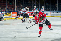 KELOWNA, CANADA - MARCH 2: Jared Freadrich #27 of the Portland Winterhawks warms up on the ice against the Kelowna Rockets  on March 2, 2019 at Prospera Place in Kelowna, British Columbia, Canada.  (Photo by Marissa Baecker/Shoot the Breeze)