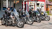 Biker's stop. New Denver, British Columbia, Canada