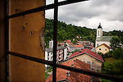 Downtown Srebrenica seen from an abandoned hotel on the hill above the city center...Matt Lutton for The International Herald Tribune..Capture of Ratko Mladic. Srebrenica, Bosnia and Herzegovina. May 29, 2011.