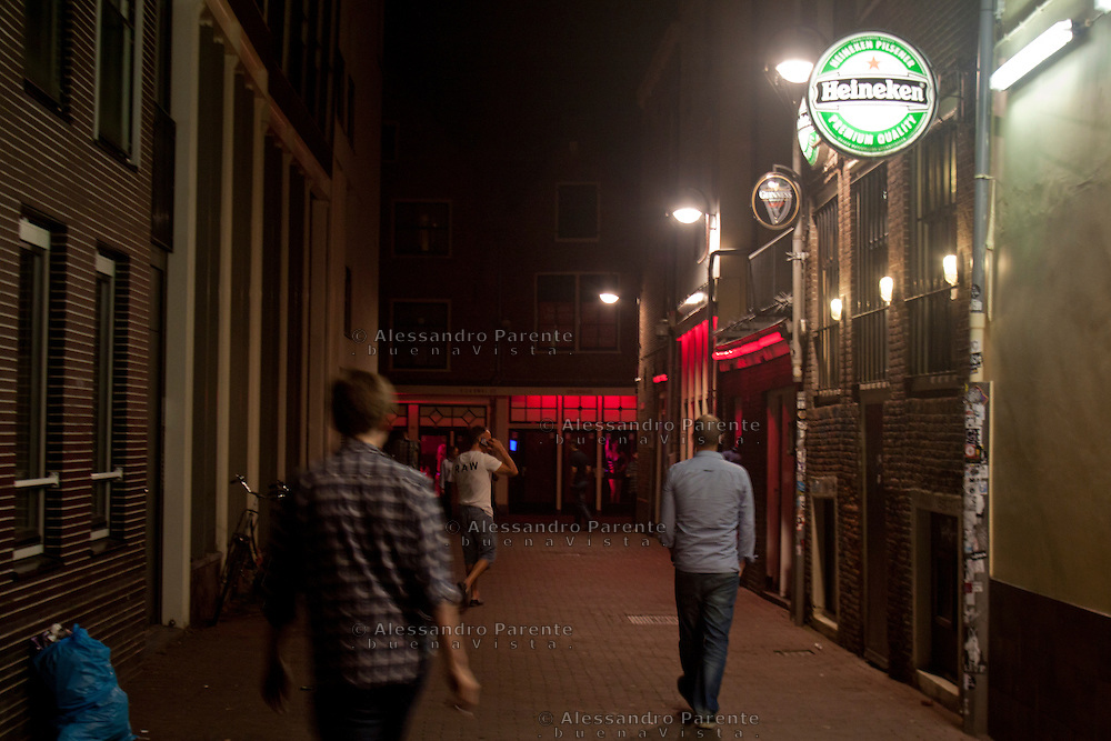 a street in the red light district in Amsterdam, The Netherlands