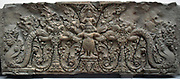 Lintel from a temple at Prasat Kok A Po (Angkor), Cambodia. last quarter of 9th century. style of Preah Ko (875-900) sandstone sculpture