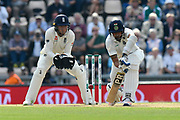 Ishant Sharma of India survives Moeen Ali of England hatrick ball during day two of the fourth SpecSavers International Test Match 2018 match between England and India at the Ageas Bowl, Southampton, United Kingdom on 31 August 2018.