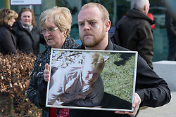 © Licensed to London News Pictures. 26/04/2016. Warrington, UK. Scene outside the court where the jury is due to deliver their verdicts at the Hillsborough Inquest, at the coroner's court at Birchwood Park.  Photo credit: Joel Goodman/LNP