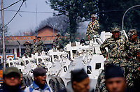 Kathmandu, 17 February 2005. The Royal Nepal Army is getting ready for the nation's Democracy Day celebration.